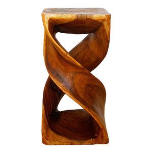 "Haussmann Eco End Table Stool Double Twist 12""x23"", Oak Oil"