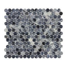 MTO0020 Modern Penny round Navy Blue Black White Glossy Glass Mosaic Tile
