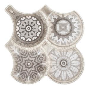"14.5""x16.13"" Escala Granada Porcelain Floor/Wall Tile, Gray Decor, Set of 14"