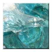 "Abstract Blue Glass Background Design Ceramic Art Tile, 4.25"" x 4.25"""