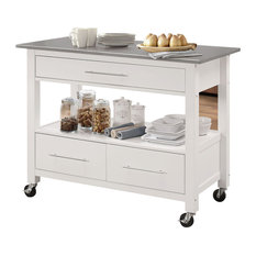 Acme Furniture   Otter Cart, Stainless Steel And White   Kitchen Islands  And Kitchen Carts