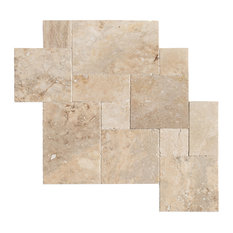 Mina Rustic Travertine Tile Antique Pattern Brushed and Chiseled