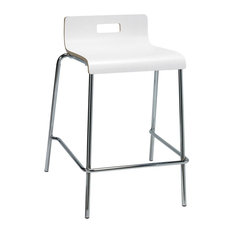Jive Counter Height Stool White Plywood Shell Low Back