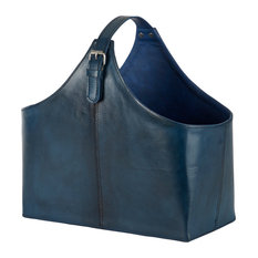 """Blue Leather Magazine Holder With Buckle, 16""""x14.5"""""""