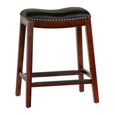 """DTY Frisco Bonded Leather Saddle Stool, Espresso Finish, 24"""" Counter Stool"""