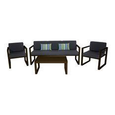 Outdoor 4-Piece Munich Furniture Set With 3-Seater Sofa, Bronze