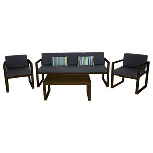 Outdoor 4-Piece Munich Furniture Set With 3-Seater Sofa, Bronze