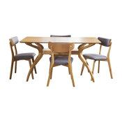 GDF Studio 5-Piece Nasseen Mid Century Wood Dining Set, Dark Gray