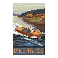 "Paul A. Lanquist Lake Tahoe California Woodie Boat Lake Art Print, 24""x36"""