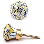 """Knobco - Floral Design Knobs, Yellow And White, Set of 3 - Yellow and white round cabinet door knobs from Jaipur, India. Unique, hand painted cabinet knobs for your kitchen cabinets. 1.5"""" in diameter. Includes screws for installation."""