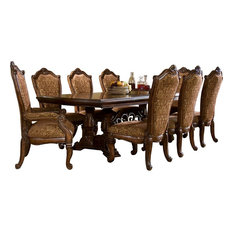 AICO Windsor Rectangular Dining Set In Vintage Fruitwood
