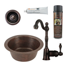 """Premier Copper Products - 12"""" Round Copper Bar/Prep Sink, Faucet, 2"""" Strainer Drain and Accessories - Bar Sinks"""