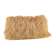 Mongolian Lamb Fur Design Down Filled Throw Pillow, Gold