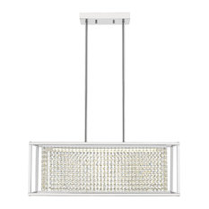 OVE Decors Milo LED Integrated Rectangular Chrome and Crystal Chandelier