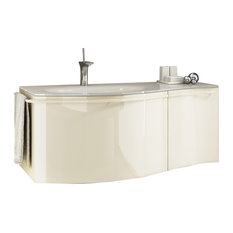 Estrema 1-Drawer 1-Door Unit With Glass Washbasin, Left-Facing