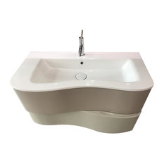"Aquamoon Cambria 39 1/2"" Modern Wall Mount Bathroom Vanity, Stone"