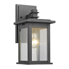 1-Light Transitional Patio Wall Sconce in Black