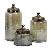 Round Luster Canisters, Set of 3, Green