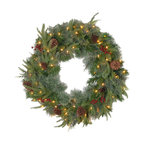 "24"" Colonial Wreath With Battery Operated Dual Color(R) LED Lights"