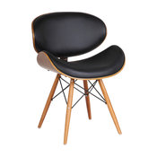 Cassie Dining Chair, Walnut Wood and Black Pu