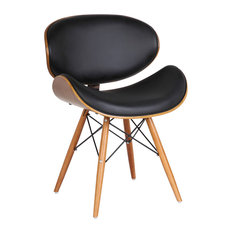 Armen Living - Cassie Dining Chair, Walnut Wood and Black Pu - Dining Chairs