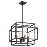 Kichler Lighting - Taubert Pendant 4-Light, Black - Layered boxes create a design that's clean and industrial-inspired on this 4 light Taubert pendant and the two-tone finish is a nod towards mid-century modern fashions. Adjust the pendant height to suit your home's style.