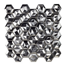 """Enchanted Metals 12""""x12.75"""" Brushed Silver 3D Hex Stainless Steel, Set of 5"""