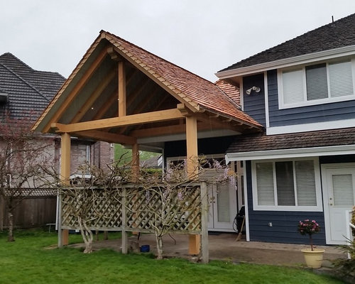 Timber Frame Patio Cover BBQ