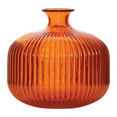 - Ferrier Orange Ribbed Glass Vase Wide - Vases