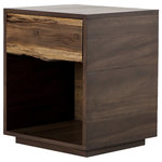 Zin Home - Kingston Live Edge Wood 1 Drawer Nightstand - Live-edge styling for a primitive take on a streamlined cube shape. Chocolate-toned saman and blonde plantation yukas bring an artisan look to bedroom storage. Single drawer to keep your bedside free of clutter. Perfect in pairs. Our live edge side table is perfect for modern rustic inspired bedroom decors. Given its handmade and hand-finished nature, variations and imperfections in the finish are to be expected and celebrated. Each Nightstand is unique.