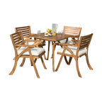 Deandra 5-Piece Outdoor Wood Dining With Cushions Set, Teak