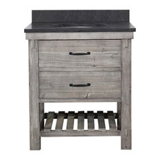 Rustic Fir Single Sink Vanity, Gray, Driftwood With Limestone Top, 30""