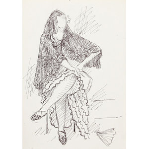 """Laurent Marcel Salinas """"Woman In Shawl 120"""" Ink Drawing"""