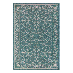 Charleston Vintage Filigree Textured Weave Indoor and Outdoor Area Rug, Gray and