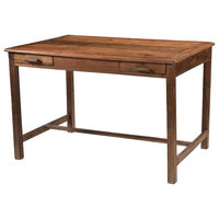 "48""L Isidoro Desk Solid Teak Wood Dual Concealed Drawers Traditional"