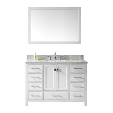 "Virtu Caroline Avenue 48"" Single Bathroom Vanity, White With Faucet And Mirror"