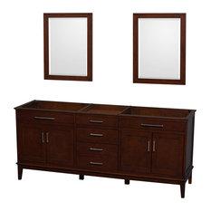 """Hatton 80"""" Dark Chestnut Double Bathroom Vanity, No Countertop, No Sink"""