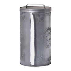 Punched Tin Paper Towel Dispenser in Antique Tin