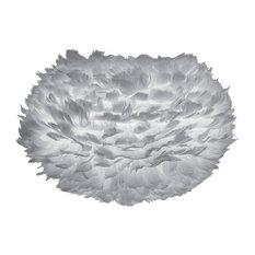 Vita Eos Medium Feather Lamp Shade, Light Grey