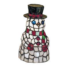 "8.5"" Snowman Tiffany Glass Accent Lamp"
