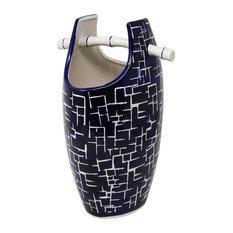 "Sagebrook Home Blue/White Bamboo Handle Vase 13.25"""