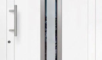 V-6005 - satiniertes Glas mit Klarglasrand Edelstahl-Rahmen