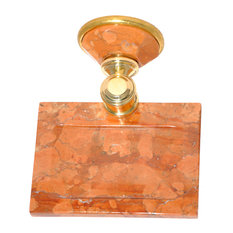 Soap Dish With Rosso Verona Marble Accents, Polished Gold