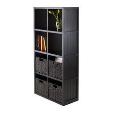 Wainscoting Panel Shelf With Foldable Husk Baskets, Black, 5-Piece, 4'x2'