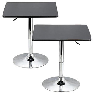 Swivel Bistro Bar Tables With Black MDF Top and Adjustable Height, Square Design