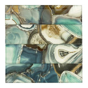 "3""x12"" Magical Forest Glossy Glass Tile, Crystal Lagoon Aqua, Set of 15"