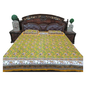 Mogul Interior - Ethnic Indian Bedding Cotton Bedspread Pear Green Bedroom Decor - Quilts And Quilt Sets