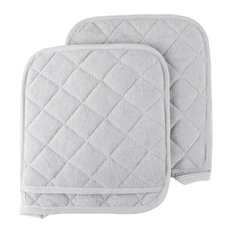 2 Piece Oversized Heat Resistant Quilted Cotton Pot Holders, Silver