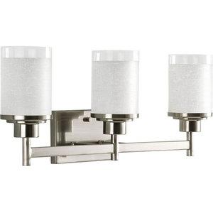 Alexa 3-Light Bath Vanity, Brushed Nickel, White Linen Glass