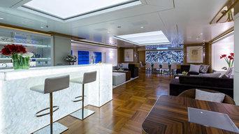 Back lit Black Agate used on Galaxy Yacht